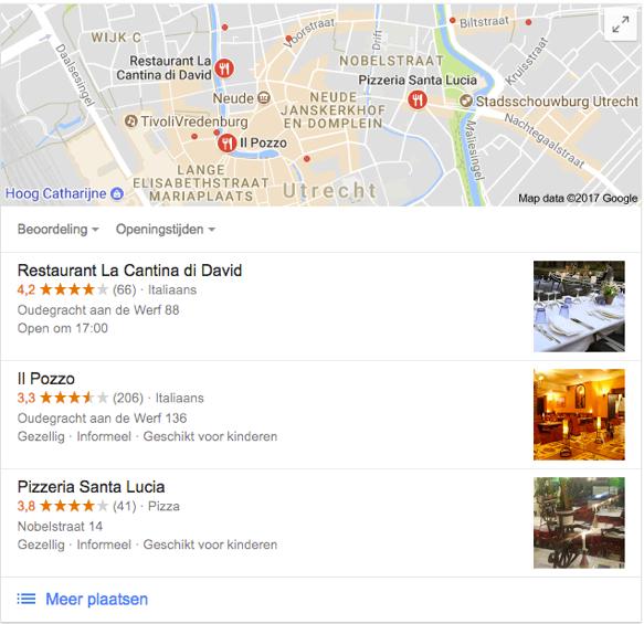 zoekresultaten lokale seo met als zoekopdracht italiaans restaurant in utrecht